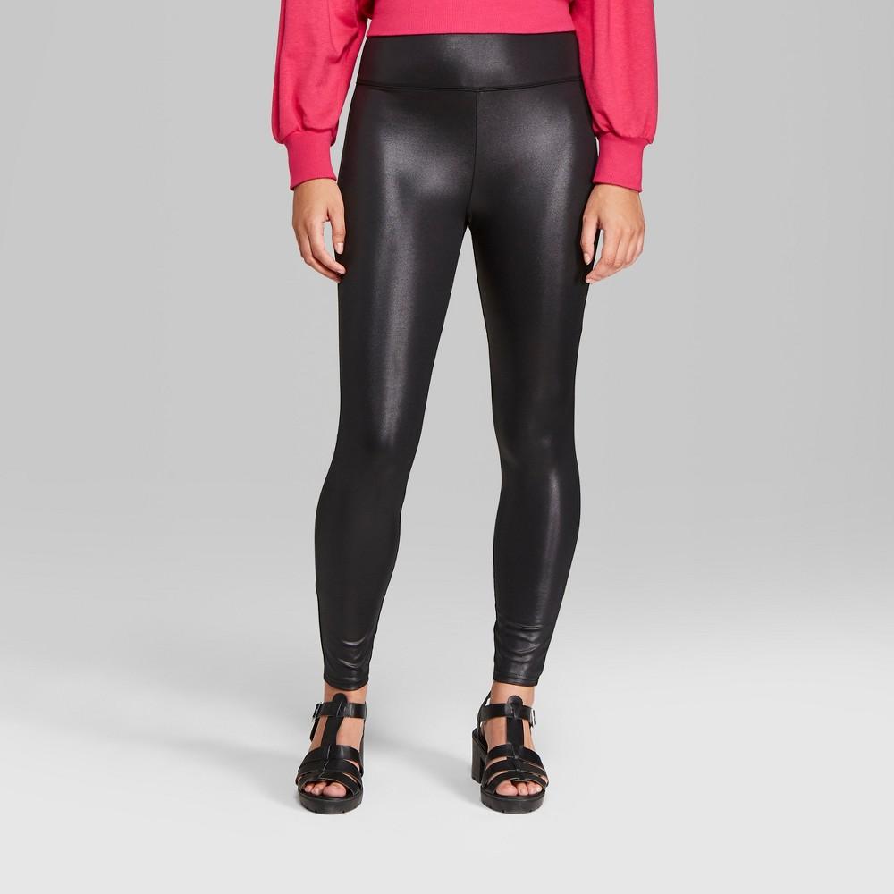 Women's Faux Leather High-Rise Leggings - Wild Fable Black XS