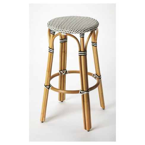Tobias Rattan Barstool Black/White - Butler Specialty - image 1 of 2