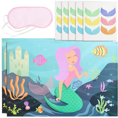 Blue Panda Pin The Tail Mermaid Party Game (2 Pack)