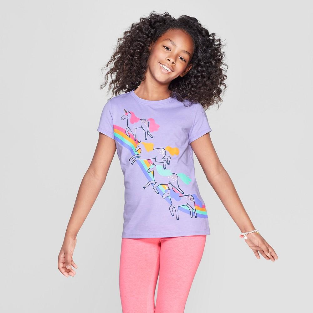 Girls' Short Sleeve Unicorn Print T-Shirt - Cat & Jack Purple M