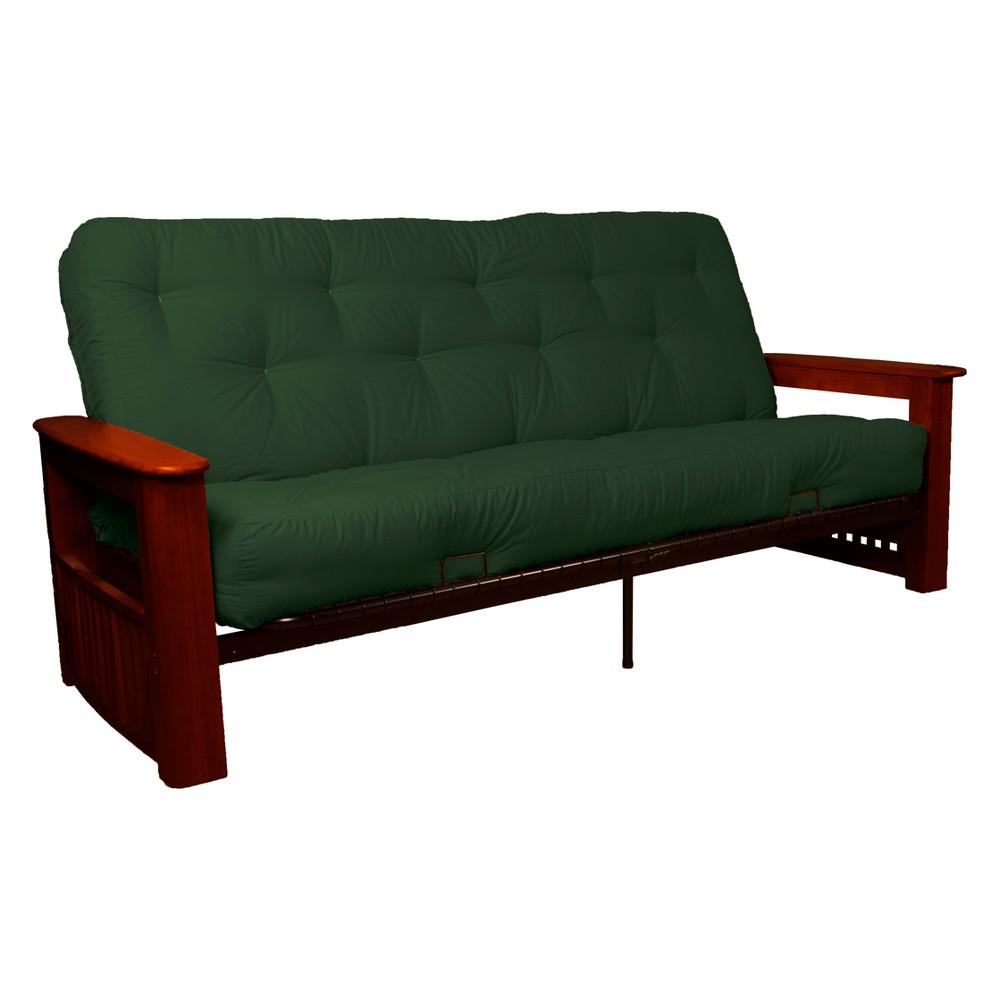 Flip Top Arm 8 Cotton/Foam Futon Sofa Sleeper Mahogany Wood Finish Hunter Green - Epic Furnishings