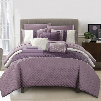 Chic Home Karras Color Block Quilted Decorative Pillows & Shams - Plum
