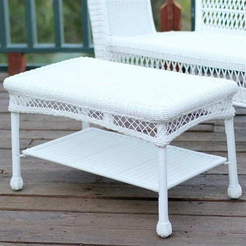 Super Wicker Patio Furniture Coffee Table In White Jeco Inc Pabps2019 Chair Design Images Pabps2019Com