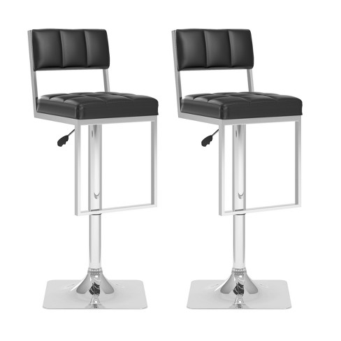 Adjustable Square Tufted Leatherette Barstool - (Set of 2) - Corliving - image 1 of 4