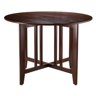 """42"""" Alamo Round Double Drop Leaf Dining Table Wood/Walnut - Winsome"""