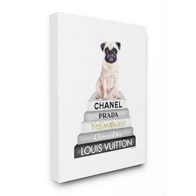Stupell Industries Glam Pug Sitting on Women's Fashion Icon Books