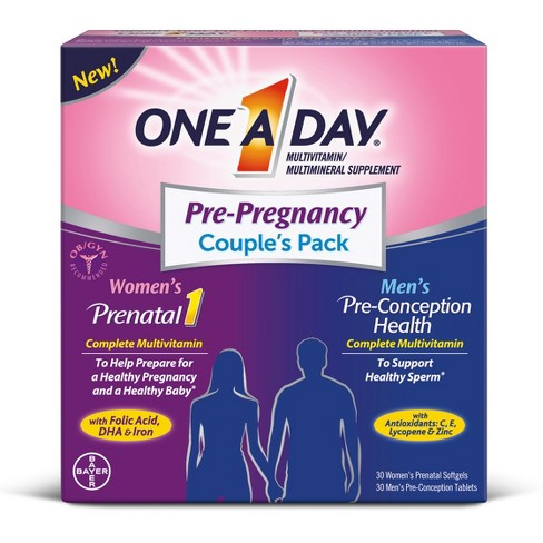 One A Day Pre-Pregnancy Couple's Pack Dietary Supplement Softgels & Tablets - 60ct - image 1 of 3
