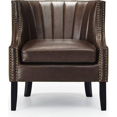 """24"""" Amelie Mid-Century Modern Armchair Dark Brown - Adore Décor"""