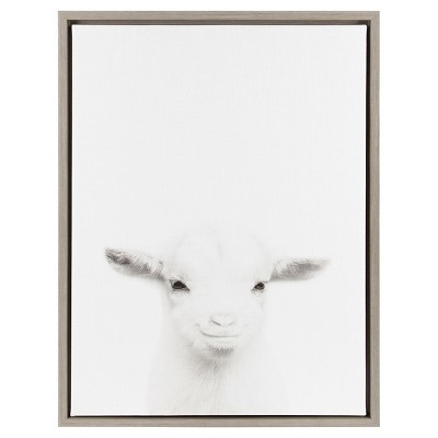 Baby Goat Framed Canvas Art Gray (24 x18 )- Uniek