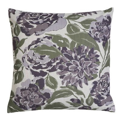 """20""""x20"""" Oversize Faux Linen Illona Floral Fran Square Throw Pillow - Décor Therapy"""