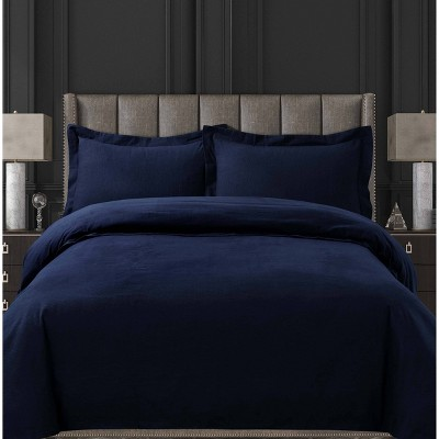 3pc Queen Cotton Flannel Oversized Duvet Set Indigo - Tribeca Living