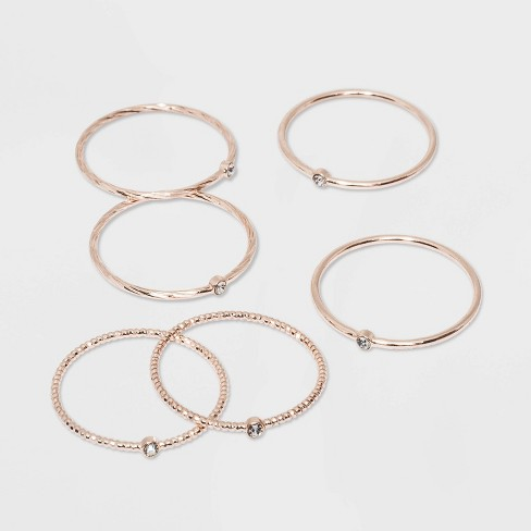 Clear Stones Ring Set - A New Day™ Rose Gold - image 1 of 1