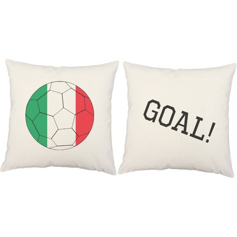 Set Of 2 Italy Flag Soccer Ball Throw Pillows 18x18 Inch Square White Indoor Outdoor Cushions Roomcraft Target