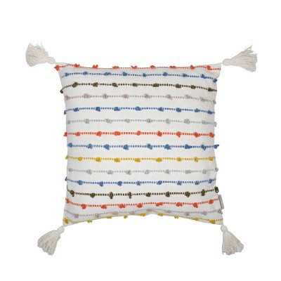 Multicolor 20 x 20 inch Decorative Cotton Throw Pillow Cover with Insert and Hand Tied Chenille Knots - Foreside Home & Garden