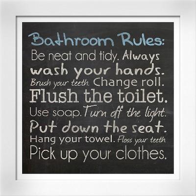 Bathroom Rules by Lauren Gibbons, White Wood Framed Art Print