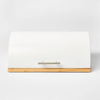 Metal Breadbox with Bamboo Base White - Threshold™