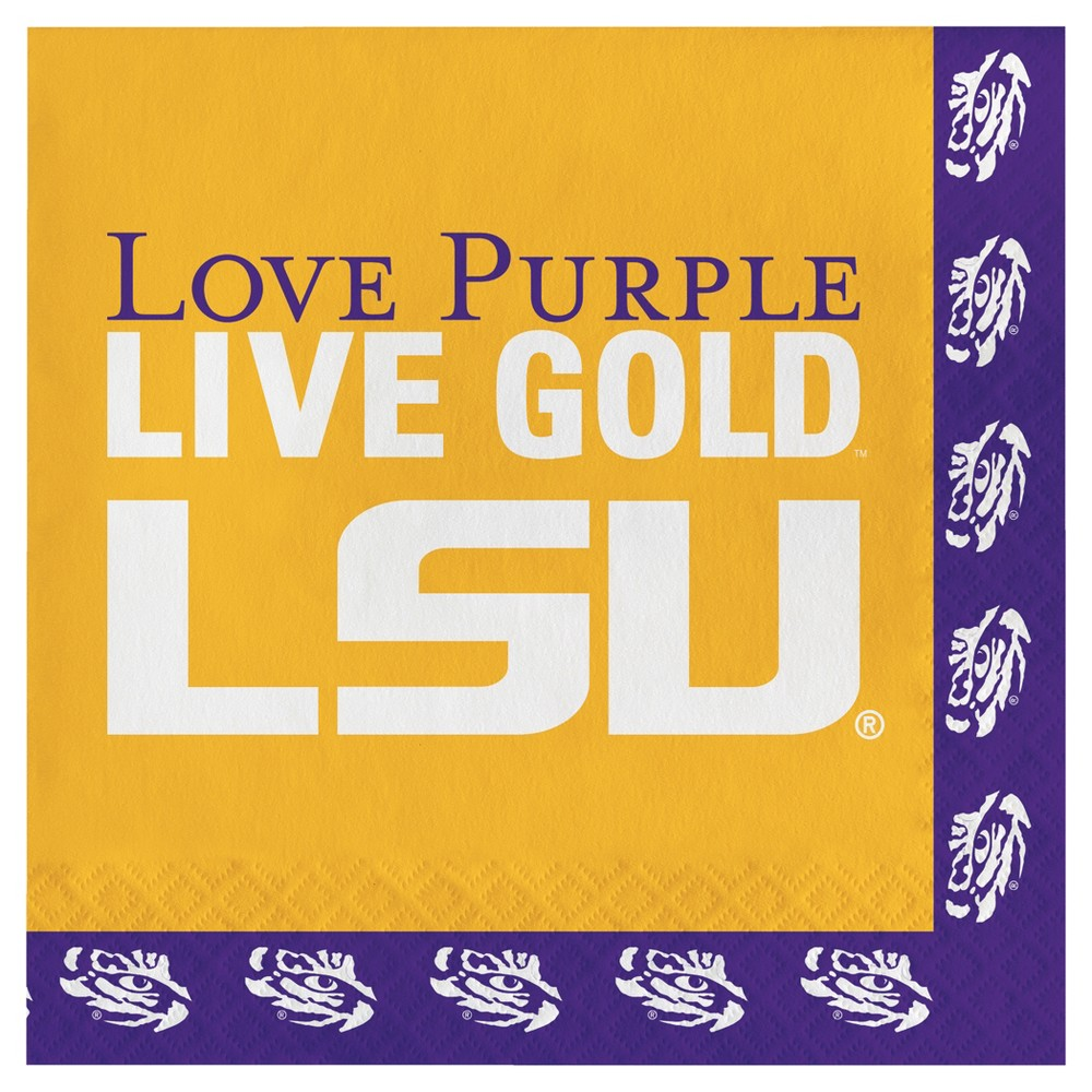 Image of 20ct Lsu Tigers Napkins, Disposable Napkins