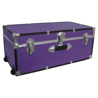 Mercury Collegiate Footlocker Storage Trunk With Wheels   30in