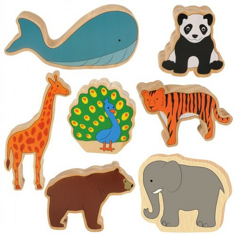 Kaplan Early Learning Large Wooden Play Animals - Set of 7 - image 1 of 4