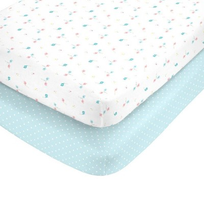 Carter's 100% Cotton Sateen Fitted Crib Sheets Elephants and Aqua with White Hearts 2pk