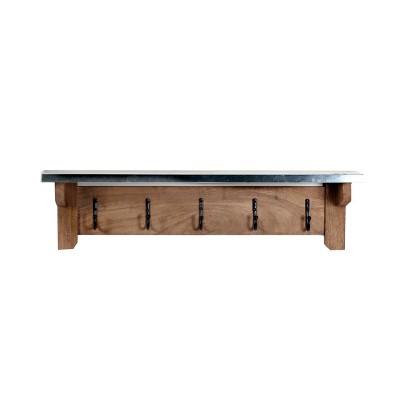 Millwork Hook Shelf Wood and Zinc Metal Silver/Light Amber - Alaterre Furniture