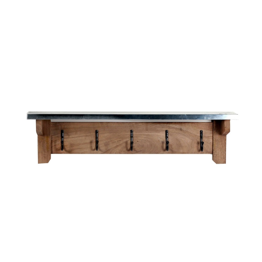 Image of Millwork Hook Shelf Wood and Zinc Metal Silver/Light Amber - Alaterre Furniture, Brown