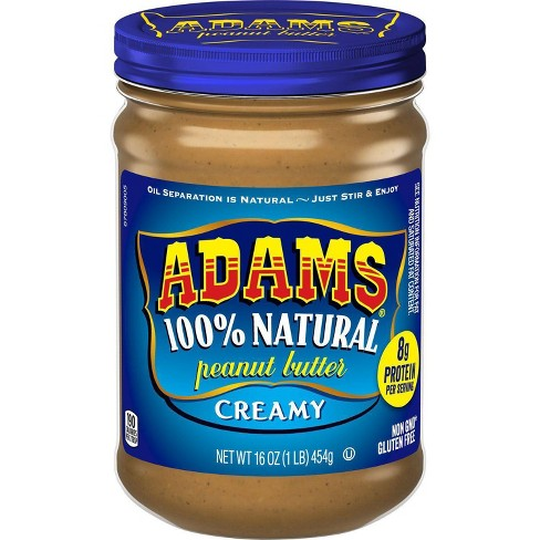 Adams 100% Natural Creamy Peanut Butter - 16oz - image 1 of 3