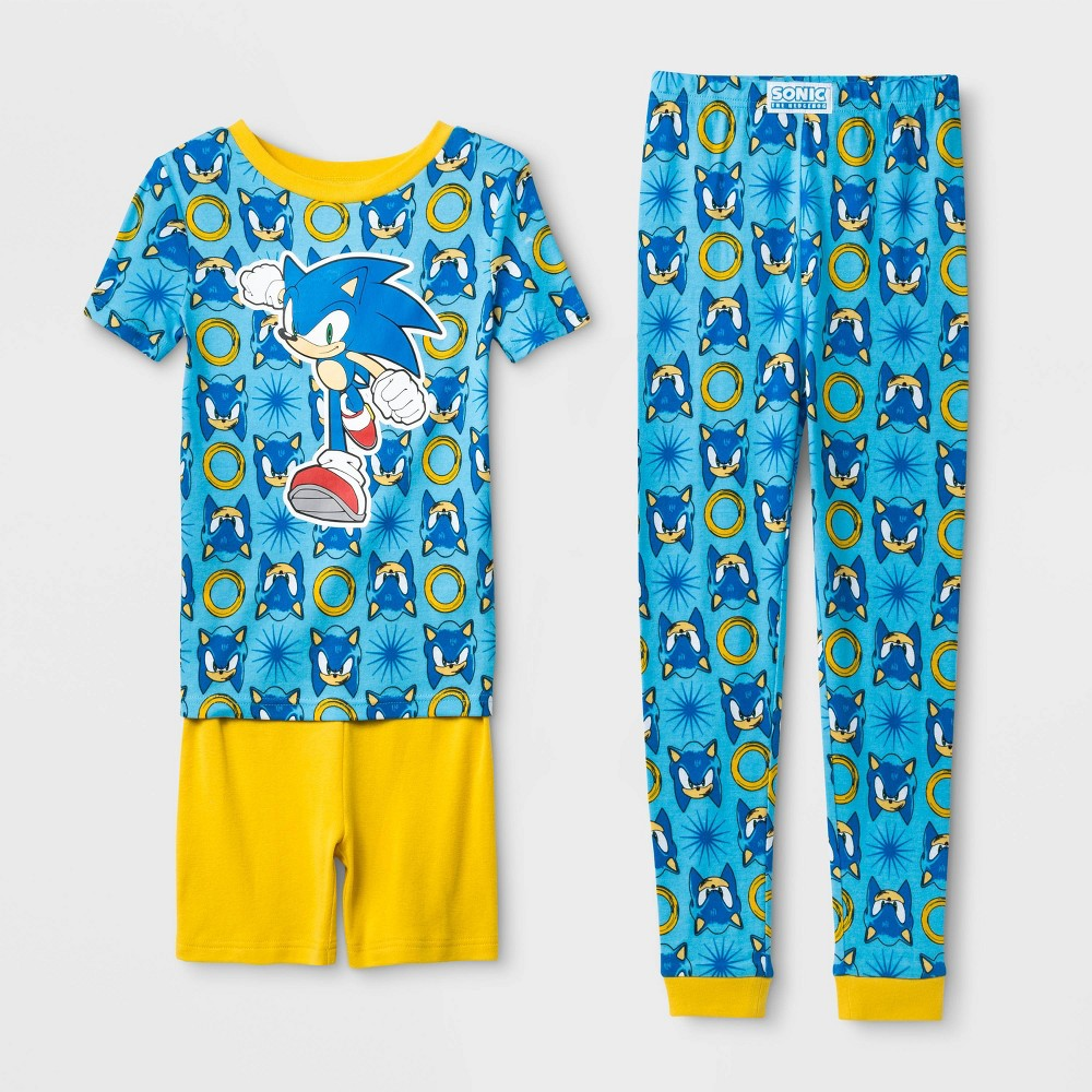 Image of Boys' Sonic the Hedgehog Tight Fit 3pc Pajama Set - Blue/Yellow 10, Boy's