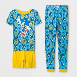 Boys' Sonic the Hedgehog Tight Fit 3pc Pajama Set - Blue/Yellow