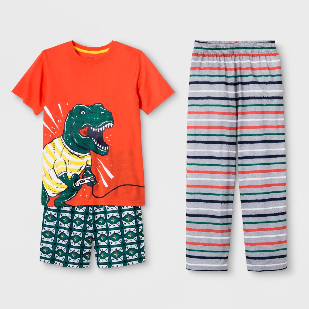 Boys' 3pc Dinosaur Video Game Graphic Pajama Set - Cat & Jack Orange L The Dinosaur Video Game Graphic Pajama Set from Cat and Jack is great for bedtime. This three-piece sleepwear set includes a pair of shorts, a pair of PJ pants and a short-sleeve graphic tee, keeping him warm and comfy all night long. The orange tee depicts a dinosaur with a video game controller on the front, while the knee-length shorts feature an allover video game controller pattern. The heather-gray PJ pants are styled with orange, white and navy horizontal stripes. Size: L. Gender: Male. Age Group: Kids.