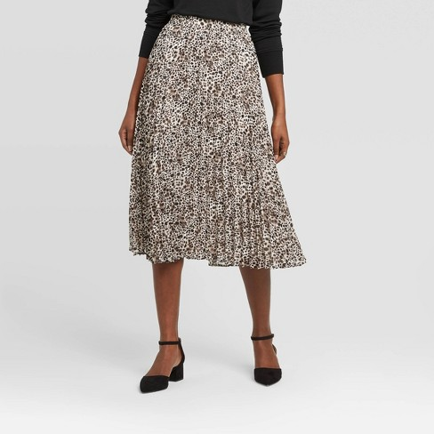 Women's Leopard Print High-Rise Pleated A-Line Midi Skirt A New Day™ - Black/White - image 1 of 3
