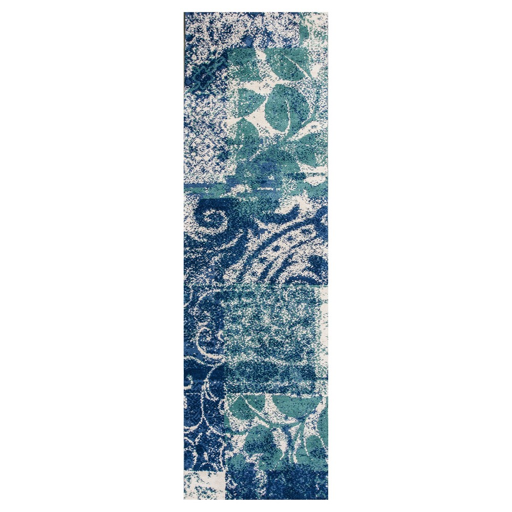 Blue Spacedye Design Tufted Runner 2'3