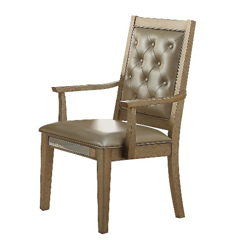 Voeville Arm Dining Chair (Set of 2) - Antique Gold and Matte Gold Faux Leather - Acme - image 1 of 2