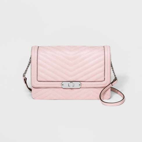 Quilted Flap Lock Crossbody Bag - A New Day™ Nouveau Pink   Target 6741e04321ee1