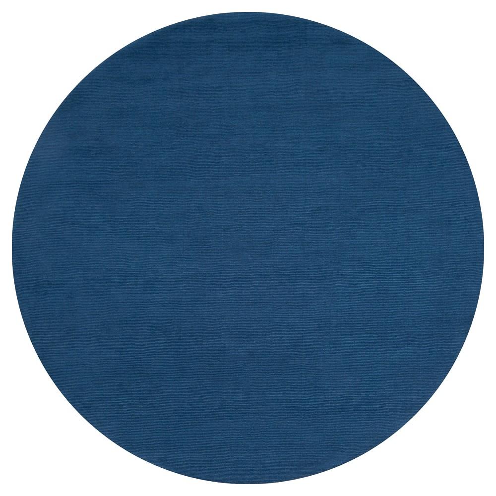Blue Solid Loomed Round Area Rug - (8' Round) - Surya, Dark Blue