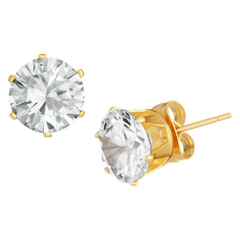 Women S G Set Cubic Zirconia Stud Gold Plated Stainless Steel Earrings 8mm Clear Target