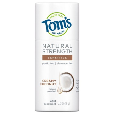 Tom's of Maine Natural Strength Plastic-Free Deodorant with Hemp Seed Oil, Creamy Coconut - 2oz