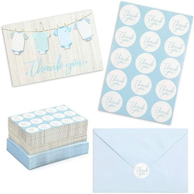 60-Pack Baby Shower Thank You Cards for Boy, Gender Reveal Parties, Blue Envelopes & Sticker Included