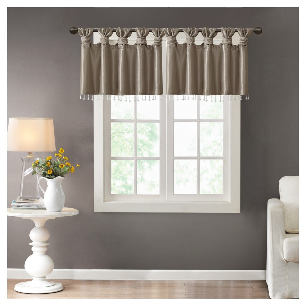 Lillian Twisted Tab Valance With Beads - Pewter (Silver) - (50x26)