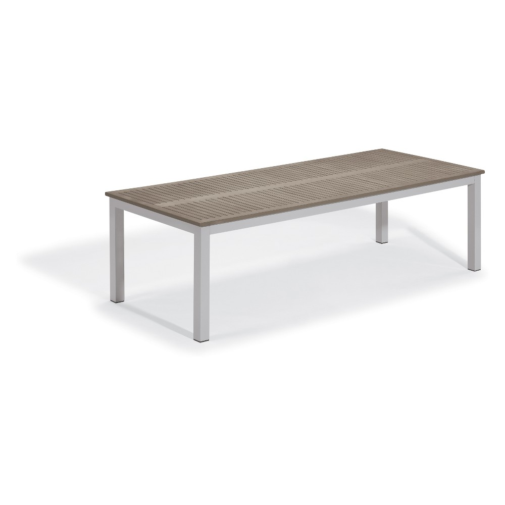 "Image of ""103"""" Travira Rectangular Dining Table with Powder-Coated Aluminum Frame and Tekwood Vintage Top - Oxford Garden"""