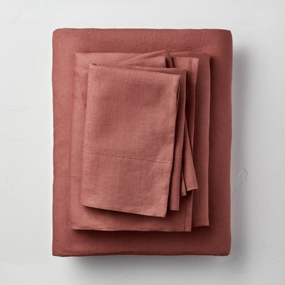 California King 100% Washed Linen Solid Sheet Set Clay - Casaluna™