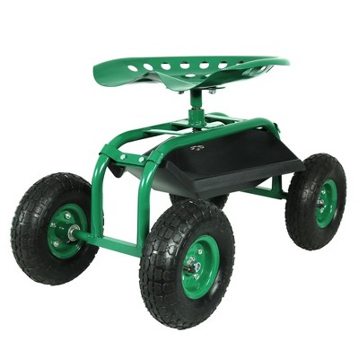 Rolling Garden Cart with Swivel Seat and Tray - Green - Sunnydaze Decor