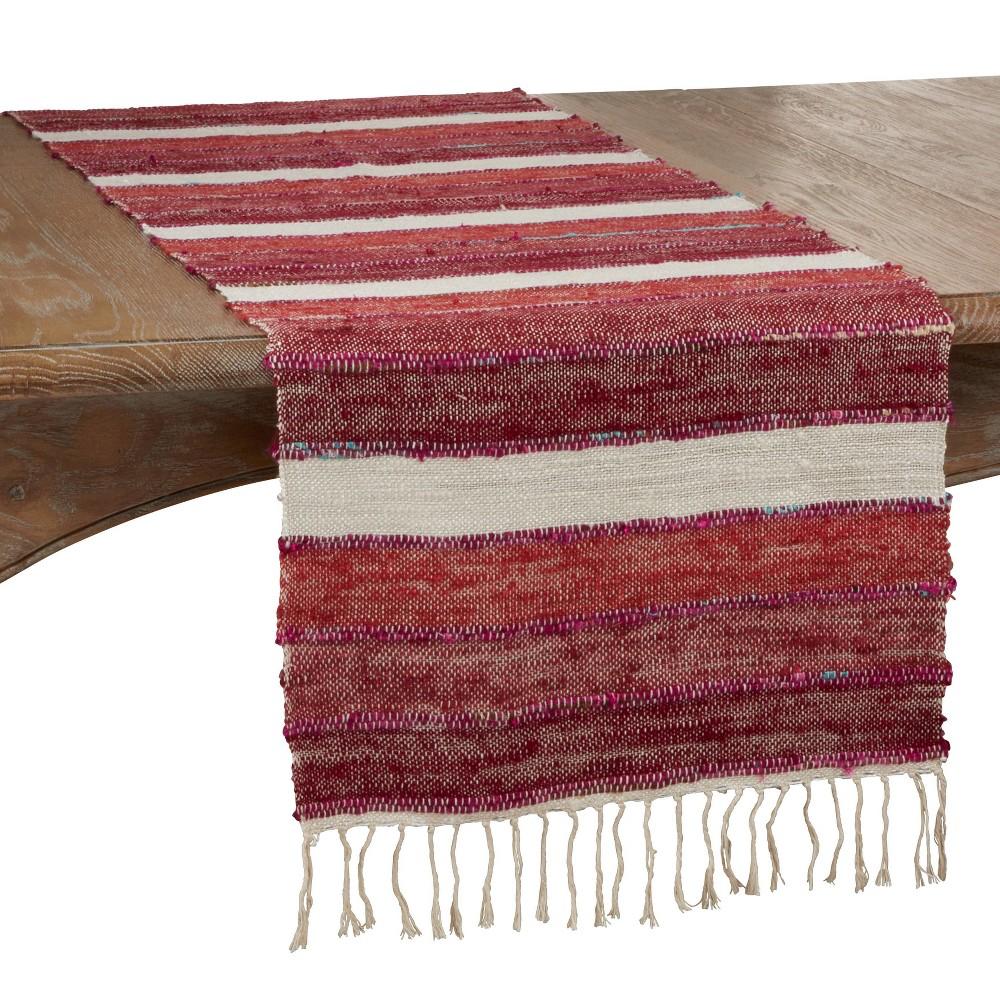 72 34 X 16 34 Cotton Wide Stripe Table Runner Red Saro Lifestyle