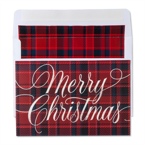 American Greetings 40ct Happy Holidays Plaid Holiday Boxed Cards - image 1 of 1