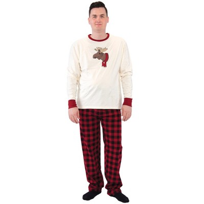 Touched by Nature Mens Unisex Holiday Pajamas, Moose