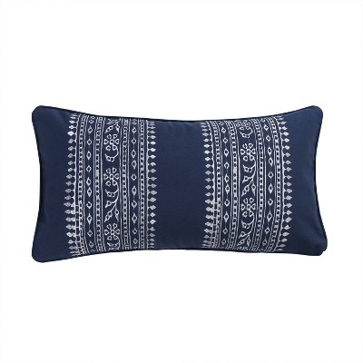Valentina Embroidered Decorative Throw Pillow Navy - Homthreads