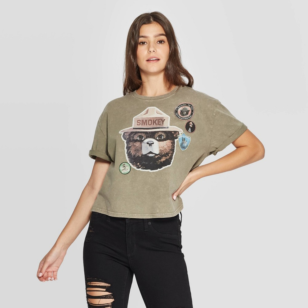 Image of Women's Smokey Bear Short Sleeve Graphic Cropped T-Shirt (Juniors') - Olive Green Wash M, Women's, Size: Medium