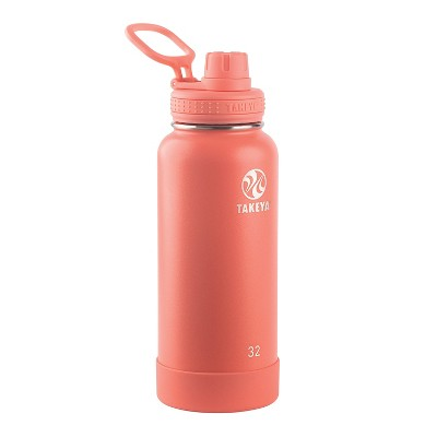Takeya Actives 32oz Insulated Stainless Steel Water Bottle with Insulated Spout Lid - Coral