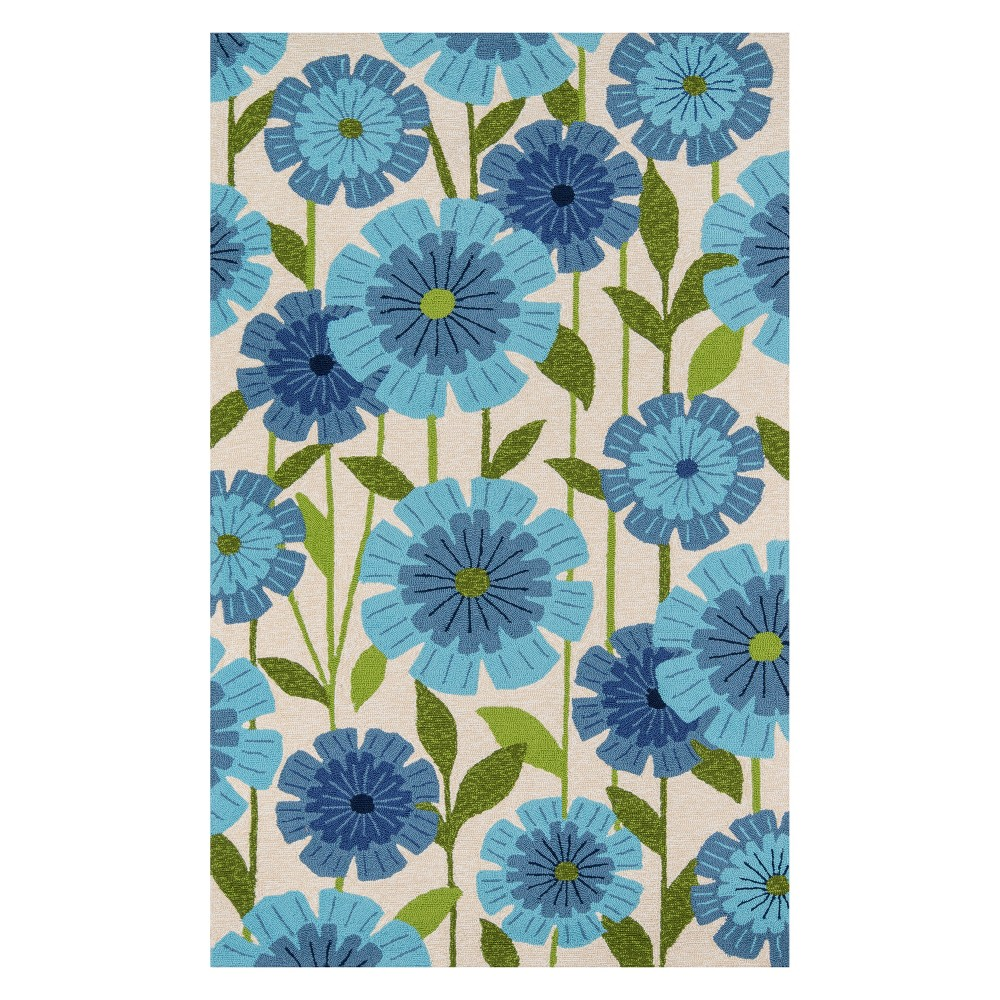 8'X10' Floral Hooked Area Rug Blue - Momeni