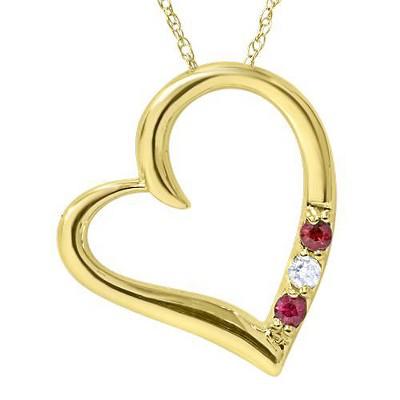 "Pompeii3 Diamond & Ruby Heart Pendant 3-Stone 14K Yellow Gold with 18"" Chain"